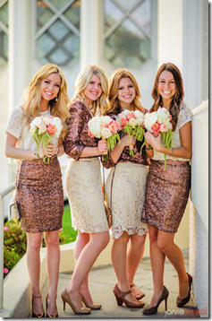 Sequined Bridesmaid Dresses, Mix and Match Bridesmaid Dresses, Seattle Wedding Planner, Wedding Planner in Seattle, Dallas Wedding Planner