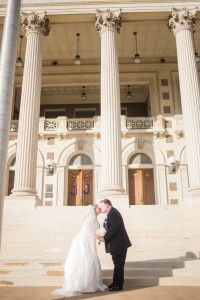 kiss, wedding, scottish rite library, bride, groom
