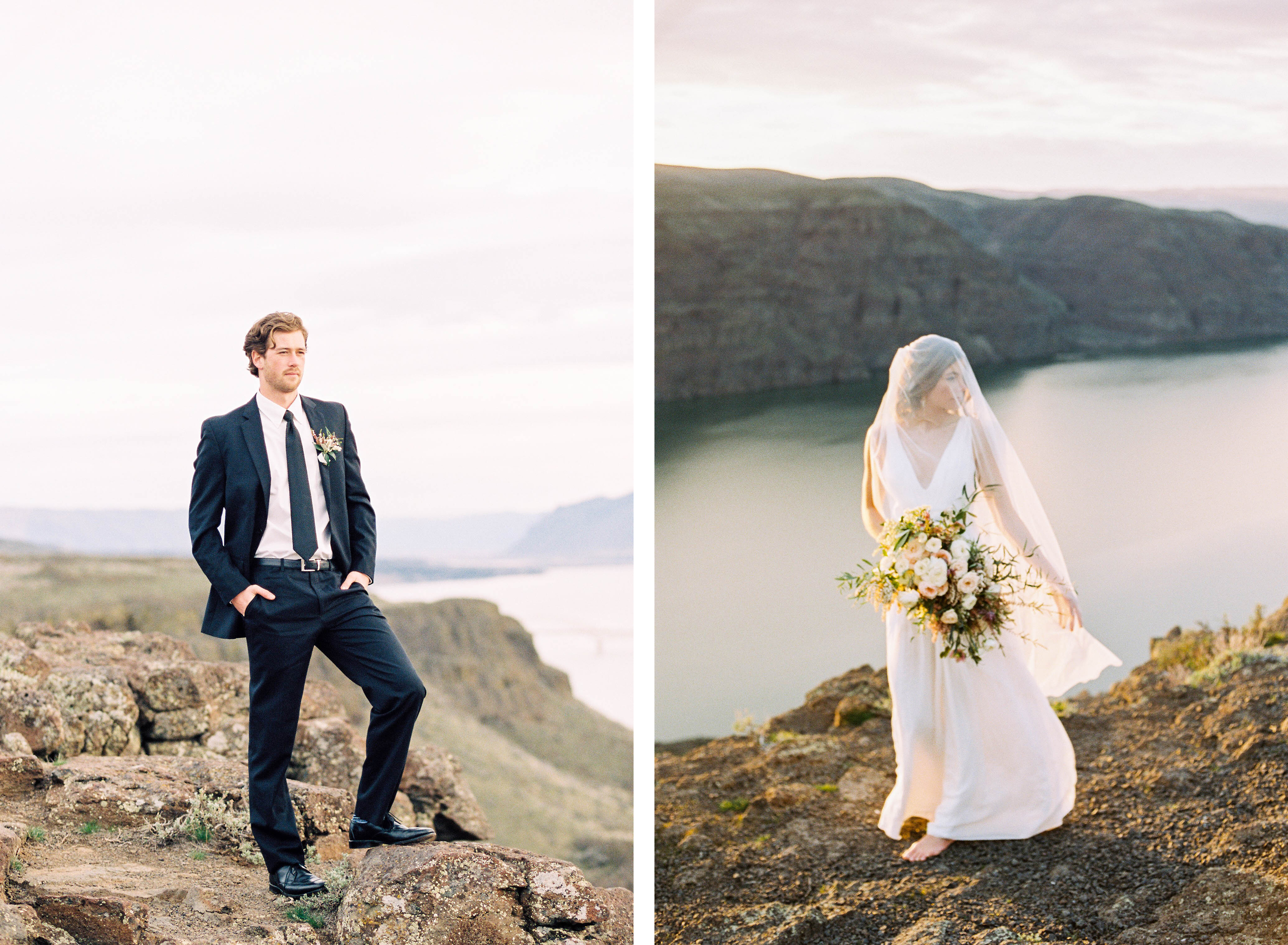 elopement wedding with bride and groom
