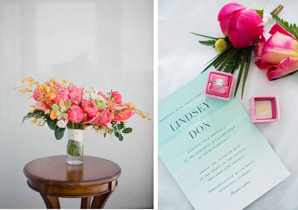Destination wedding planner bouquet and invitation