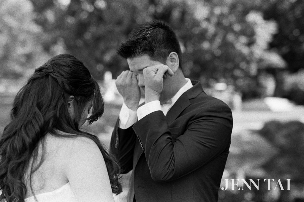 Groom tears up at First Look