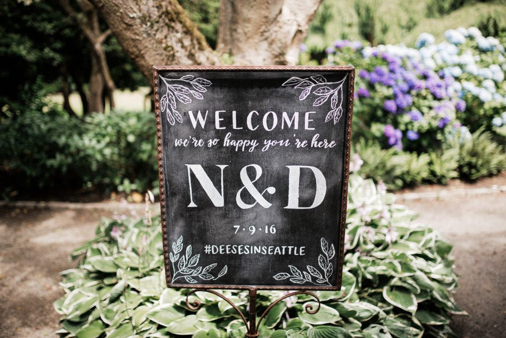 Chalkboard ceremony reception sign