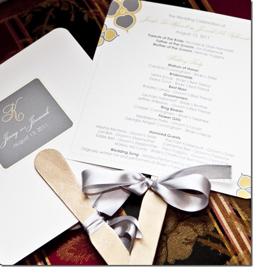 Program Fans, Yellow and Gray Wedding, Dallas Wedding Planner