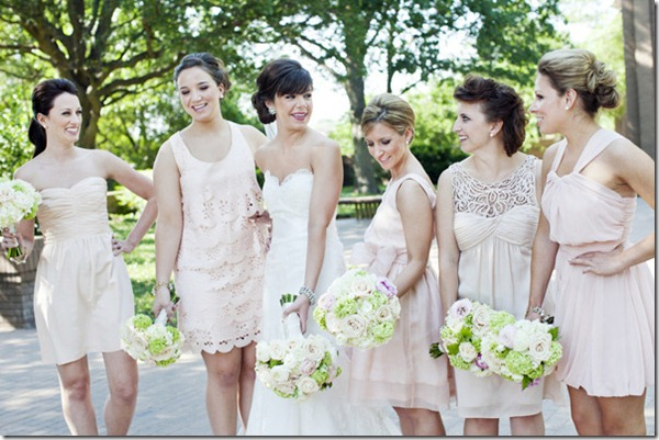 Blush Bridesmaid Dresses, Fort Worth Wedding, Marty Leonard Chapel, Sweet Pea Events