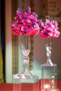 wedding, ceremony, flowers, glass, pink