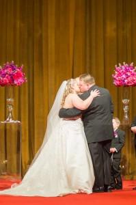 first kiss, wedding, ceremony, bride, grrom, kiss