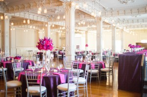 reception, pink, purple, wedding, decorations