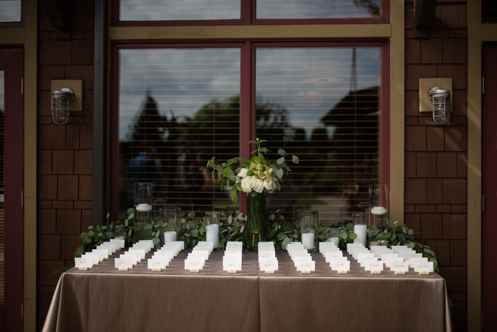 Escort cards by Washington Wedding Planner