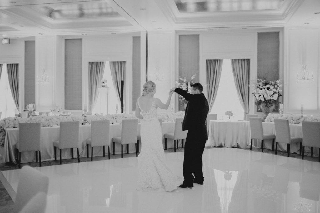 White dance floor wedding reception